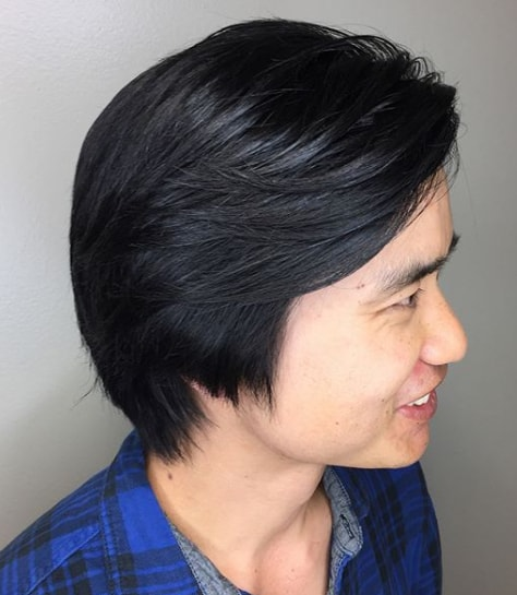 Side Part Black Silk Back Hairstyle