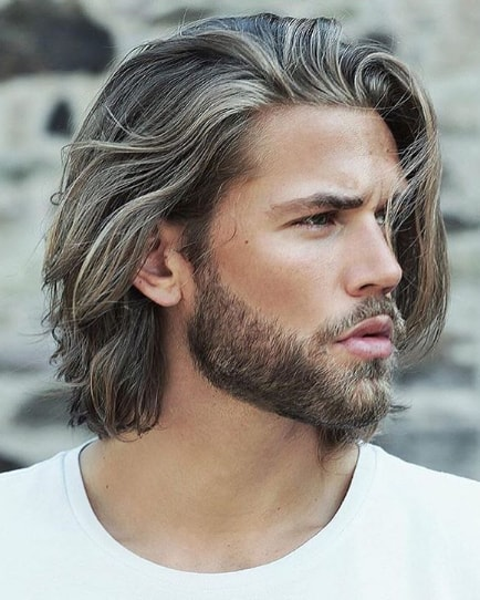 Shoulder Length Textured Layered Men Hairstyle