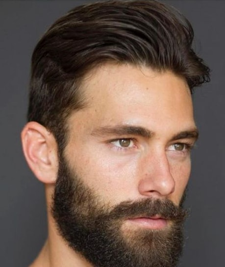Simple Taper Cut + Side Part with Beard
