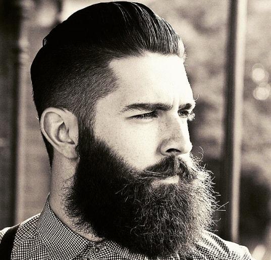 Medium Length Slicked Back Fade With Beard