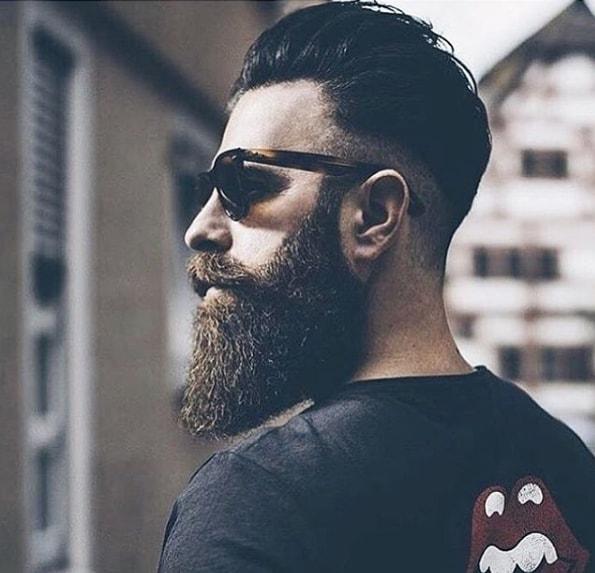 Medium Length Slicked Back Hair With Long Beard