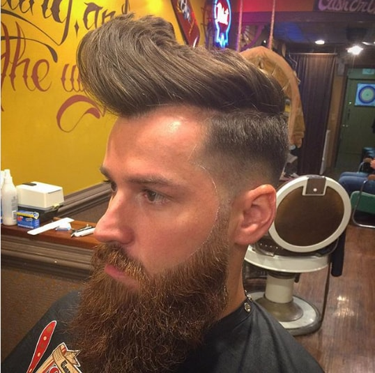 Messy Pompadour With Short Sides and Beard