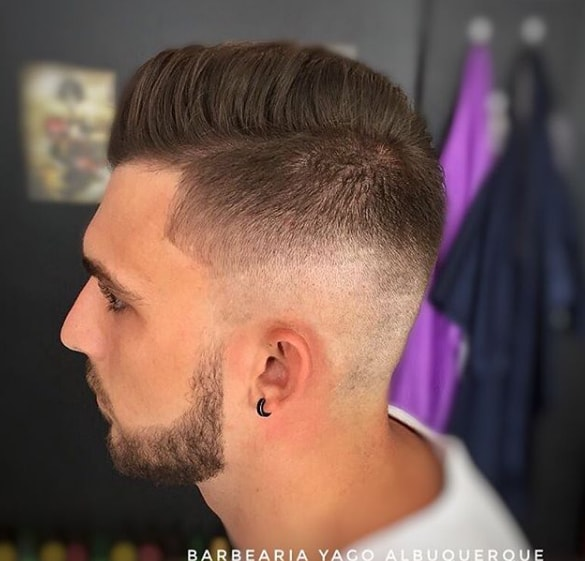 Side Swept And Side Parted Low Fade Hair