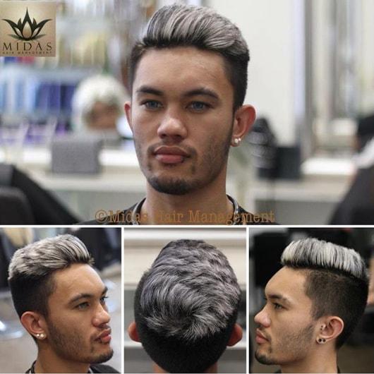 Silver Blonde Undercut Men Hairstyle