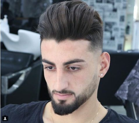 Comb Over Hairstyle With Undercut And Beard