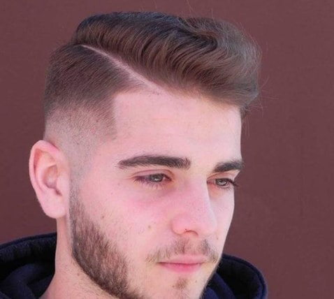 Side Swept With Hard Parted Fade Hairstyle for Men