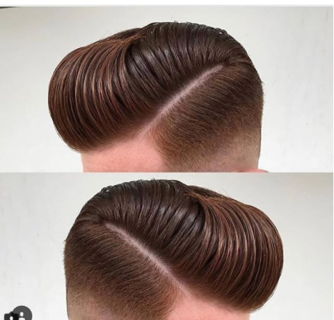 Slicked Back Hair With Hard Parted Fade Men Haircut
