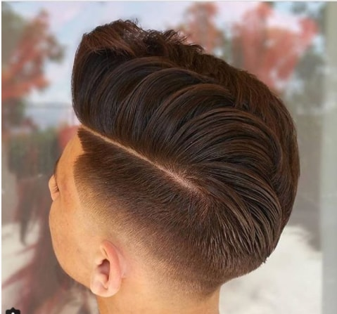 Side Swept Quiff With Hard Parted Undercut