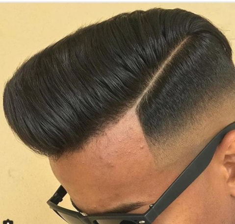 Side Swept Slanted Flat Top With Fade Men Hairstyle