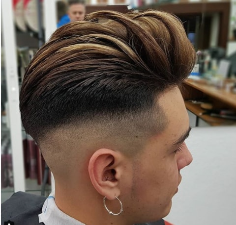 Long Combed Back Fringe With High Fade Men Hairstyle