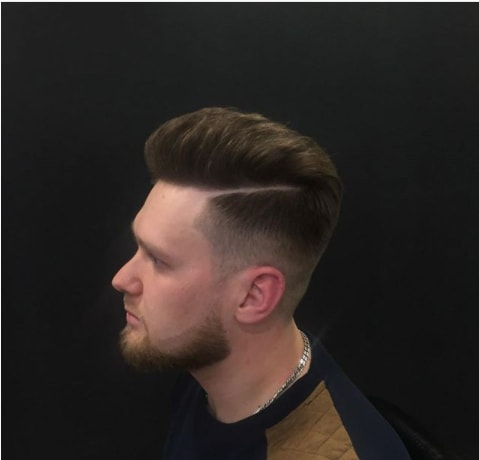 Hard Parted Pompadour Men Hairstyle