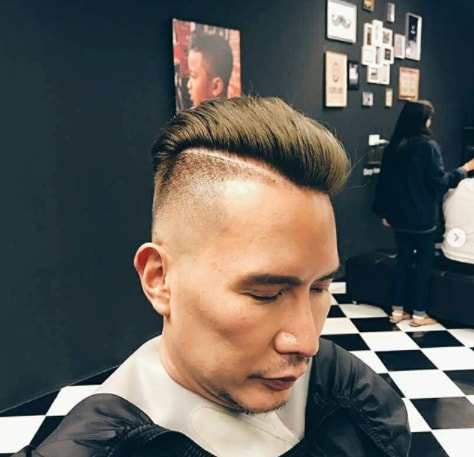 Combed Back Hair With Hard Parted Undercut