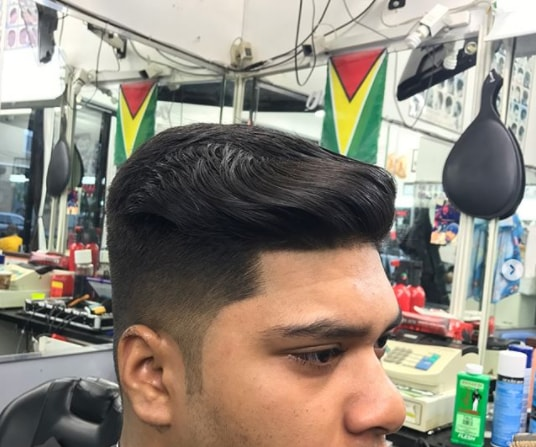 Long Side Swept Hair With Taper Fade