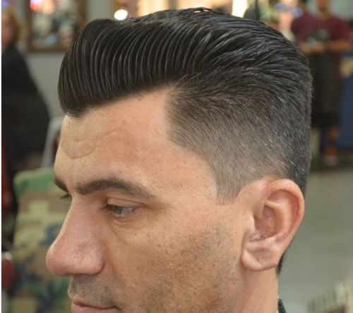 Swept Back Flat Top Haircut With Fade