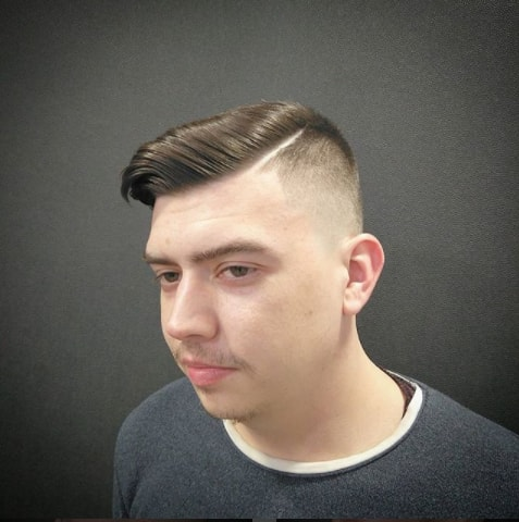Side Swept With Hard Part And Undercut for Men